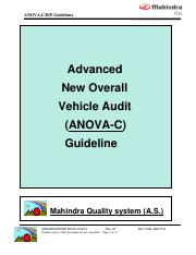 Advanced New Overall Vehicle Audit (ANOVA-C) Guidline