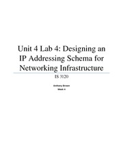Unit 4 Lab 4 - Designing an IP Address Schema for Networking Infrastructure