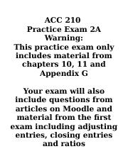 ACC 210 Practice Exam 2A with Solutions.docx