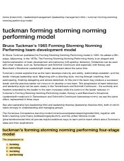 Bruce Tuckman forming storming norming performing team development model