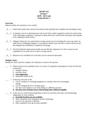 MGMT451_Exam 1_Practice_with_Answers
