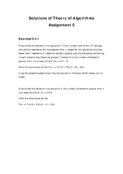 Solutions of Theory of Algorithms assignment 9.3-1