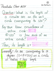 MATH 1112 Fall 2013 Length of a Circular Arc Lecture Notes
