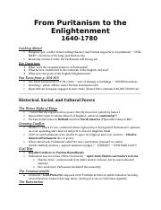 From puritism to enlightenment NOTES
