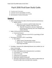TB Study Guide Final Exam PSYC2000 Section 02