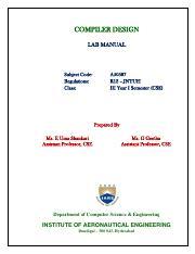 Cd Lab Manual Pdf Compiler Design Lab Manual Subject Code Regulations Class A50587 R13 Jntuh Iii Year I Semester Cse Prepared By Ms E Uma Shankari Course Hero