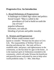progressive era outline