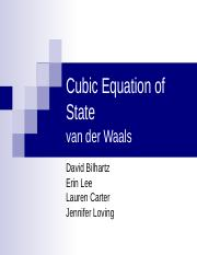 Cubic Equation of State-pure component