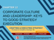 Strategy chapter 12 - Corporate culture and leadership - Keys to good strategy execution - MM