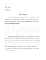 Johnson, Tricia Dance Final Essay