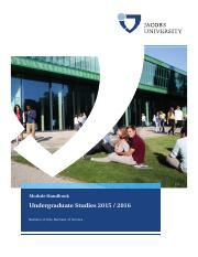 Jacobs University Study Undergraduate Studies Modules