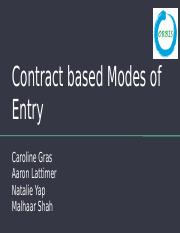 Contract based Modes of Entry - Orbis Team