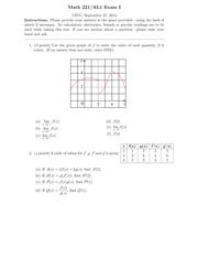 Exam 1 Fall 2013 on Calculus