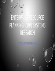 Enterprise resource planning (erp) systems research