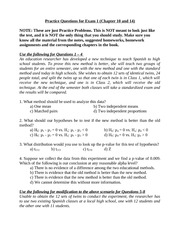 Practice Questions for Exam 1 (Chapter 10 and 14)