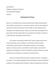 essay emotions revealed david wharton com emotions  4 pages essay 2 breaking all the rules