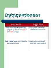 employing interdependence essay The indian independence movement was a movement from 1857 until 15 august 1947,  they started employing indians in the civil services but at lower levels.
