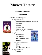 Intro to theater Musical Theater  Modern Musicals9