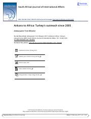 Ankara to Africa Turkey s outreach since 2005