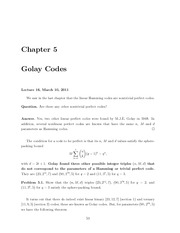 Math 422 Golay Codes Notes