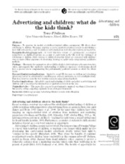 Advertising and children what do the kids think