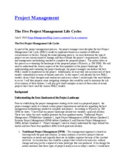 5 (PMLC)  Project Management Life Cycles  - notes