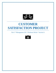 Management 201 Customer Satisfaction Project - Final Copy