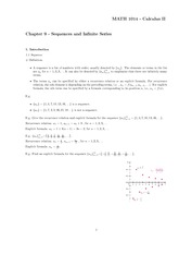 Chapter 9 Notes (Sequences and Infinite Series)