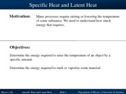 Specific Heat and Latent Heat