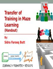 Transfer of training in maze learning 2 pptx - Transfer of
