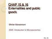 CHAP 15 & 16 - Externalities and Public Goods
