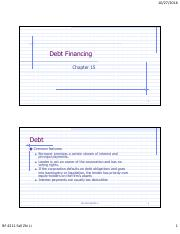 Slides 10 Debt Financing and Capital Structure