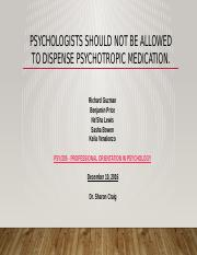 Team C - Psychologists should not be allowed to dispense psychotropic medication
