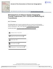 Retrospective on nature-society geography Tracing trajectories (1911-2010) and reflecting on transla