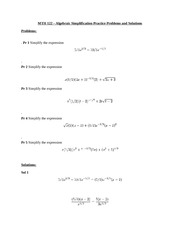 MTH 122 – Algebraic Simplification Practice Problems and Solutions
