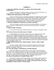 Health, study guide 1