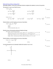 Exam 3 Study Guide and Review on College Algebra