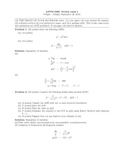 Exam 1 Solutions Fall 2012