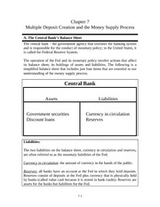Chapter 7 - Multiple Deposit Creation and the Money Supply Process