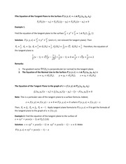 Tangent Planes Lecture
