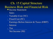 FIL 341 Ch. 15-Capital Structure