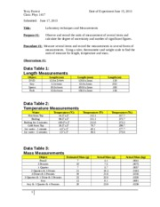 laboratory techniques measurements from labpaq A student researched chemistry lab about laboratory techniques where the purpose is to test the accuracy and precision of the person doing the experiment.
