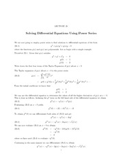 Lecture 25 Solving Differentia6 Equations via Power Series