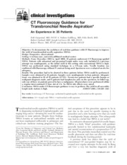 CT Fluoroscopy Guidance forTransbronchial Needle Aspiration
