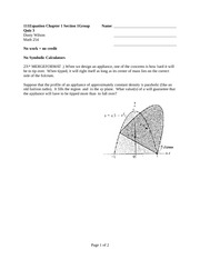 Quiz 3 Spring 2014 on Multivariable Calculus