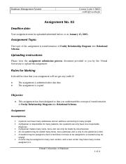 Database Management Systems - CS403 Fall 2004 Assignment 03