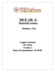 MCE 230 - Hardness Test