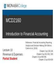 ja Student MCD2160 Trim1 2016 Lecture 10 Revenue and Expenses