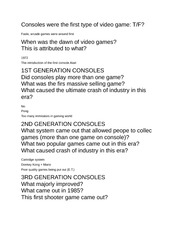 Video Game Notes