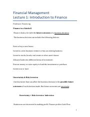 Intro to Finance, Uncertainty and Risk Aversion